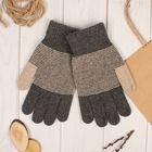 """Перчатки шерстяные мужские """"Тритон"""", размер 10, цвет коричневый/бежевый"""