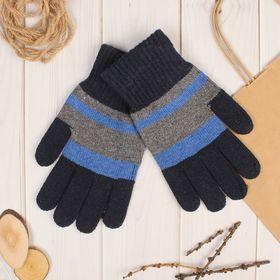 Перчатки шерстяные мужские 'Креон', размер 10, цвет серый/синий Ош