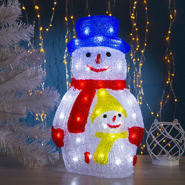 """Фигура акрил. """"Снеговик с сынишкой"""" 21х25х40 см, контроллер с димером, 50 LED, 220V"""
