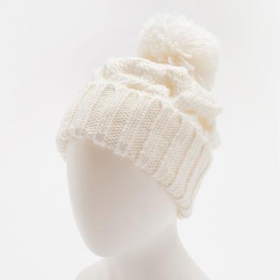 """Шапка женская с помпоном """"Кеми"""", размер 54-56, цвет белый"""
