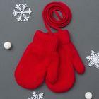 Варежки для девочки 2х слойные 12*7 см (р-р произв. ) на верёвочке, цв. красный