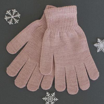 Перчатки женские с люрексом, размер 18, цвет розовый