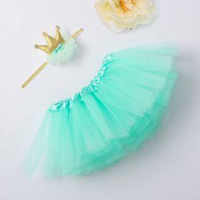 """Набор Крошка Я """"Маленькая принцесса"""" юбка и повязка на голову 3-18 мес, мятный"""