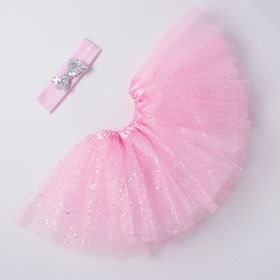 "Набор Крошка Я ""Маленькая принцесса"" юбка и повязка на голову 3-5 лет, розов+серебро"