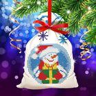 """Новый год, вышивка крестиком на мешочке """"Снеговик"""", основа 25*35 см"""