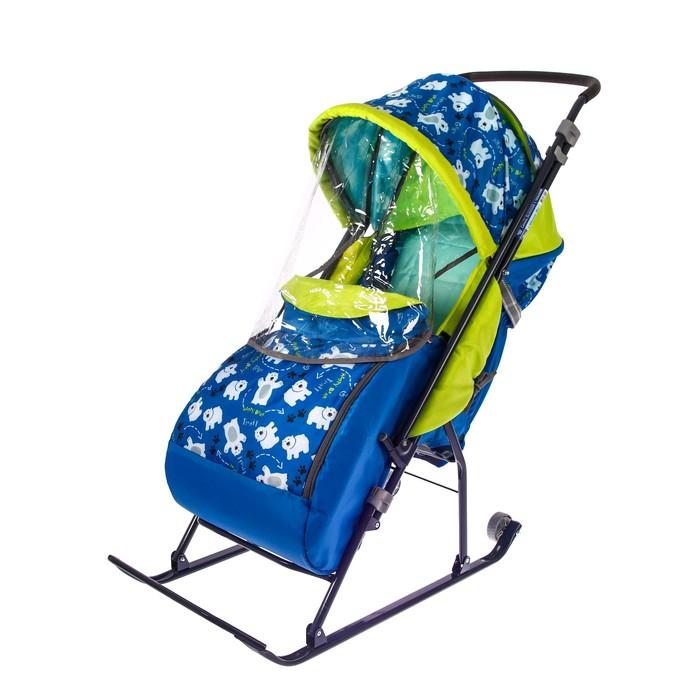 Санки коляска «Умка 3. Мишки», цвет: синий
