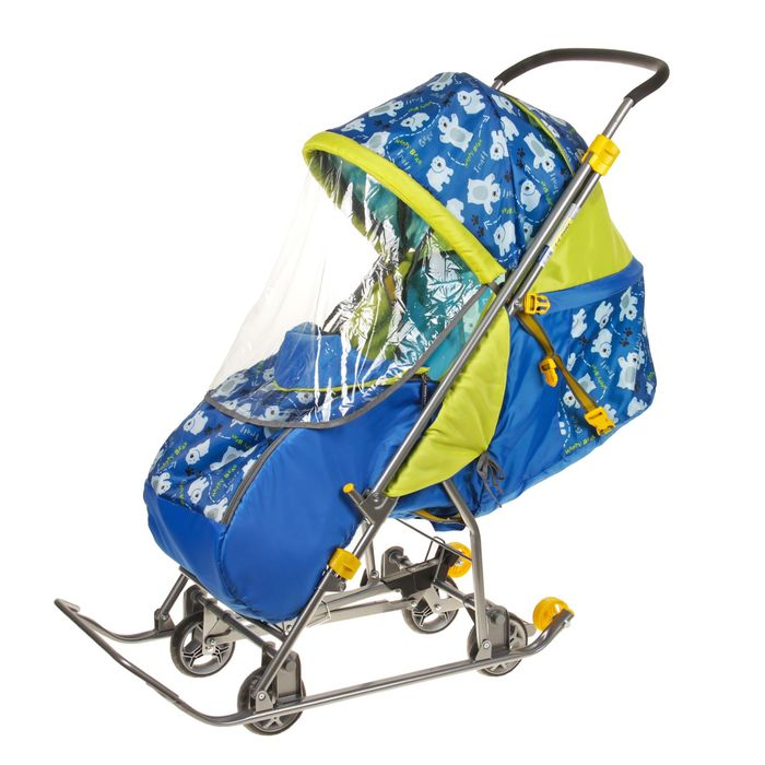 Санки-коляска «Умка3-1. Мишки», цвет: синий