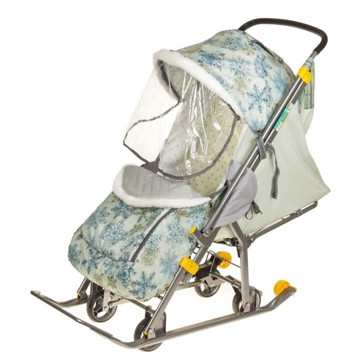 Санки-коляска «Наши детки», цвет зимний фисташковый