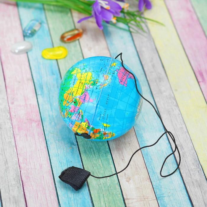 """Мяч из мягкого пластика """"Глобус"""" на резинке"""
