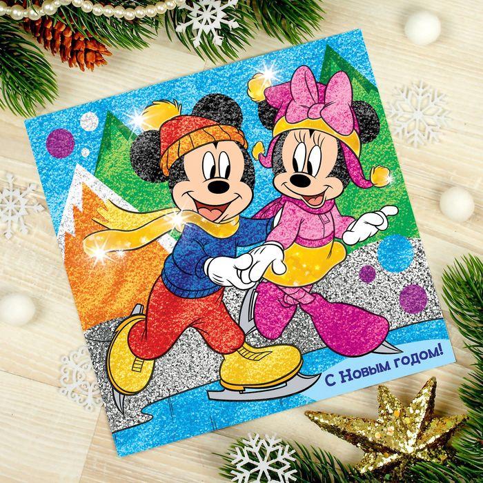"""Фреска с блестками и фольгой """"С Новым годом!"""" Микки Маус и друзья + 9 цветов песка по 4 гр, блестки"""