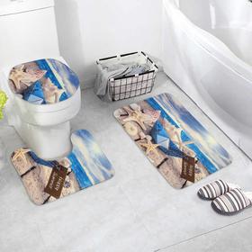 Набор ковриков для ванны и туалета «Бумажный корбалик», 3 шт: 37×43, 39×48, 50×80 см