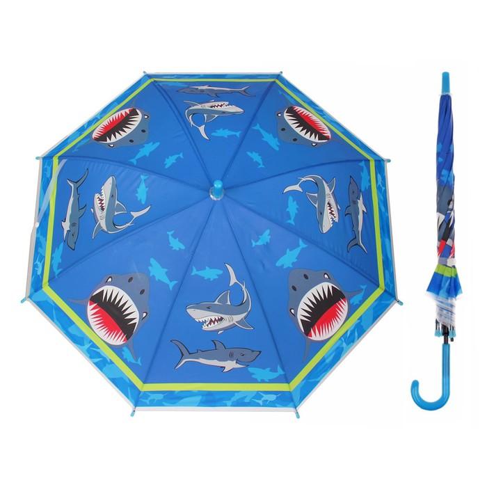 """Зонт детский """"Акула"""", полуавтоматический, r=40см, цвет синий"""