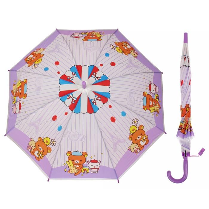 """Зонт детский полуавтоматический """"Мишка с друзьями"""", r=40см, со свистком, цвет сиреневый"""