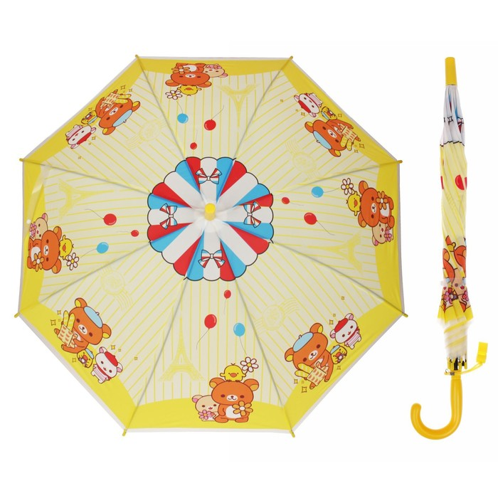 """Зонт детский """"Мишка с друзьями"""", полуавтоматический, со свистком, r=40см, цвет жёлтый"""