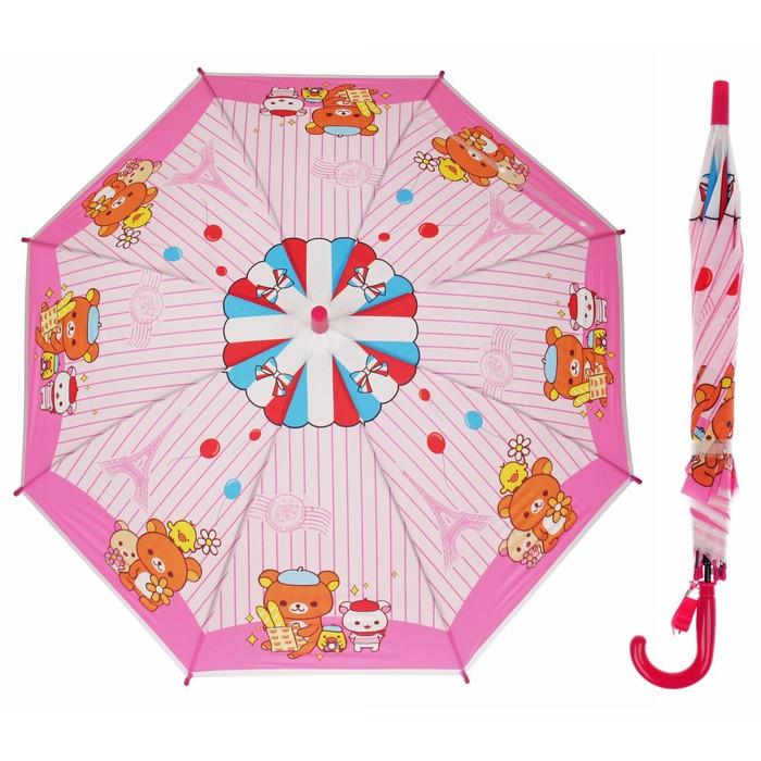 """Зонт детский """"Мишка с друзьями"""", полуавтоматический, со свистком, r=40см, цвет розовый"""