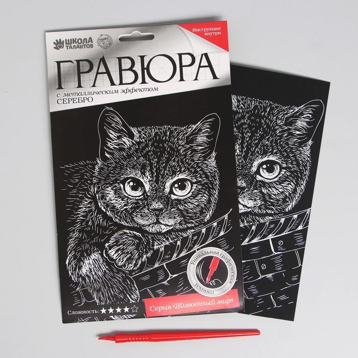 """Гравюра """"Котёнок"""", металлический эффект """"серебро"""", 15 х 21 см"""