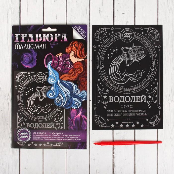"""Гравюра """"Водолей"""", металлический эффект """"серебро"""", 15 х 21 см"""