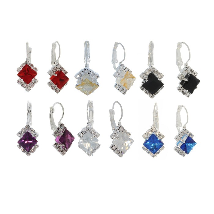 "Earrings ""Diamond"" party MIX color"