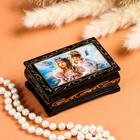 Шкатулка «Ангелочки с цветами», 6×9 см, лаковая миниатюра
