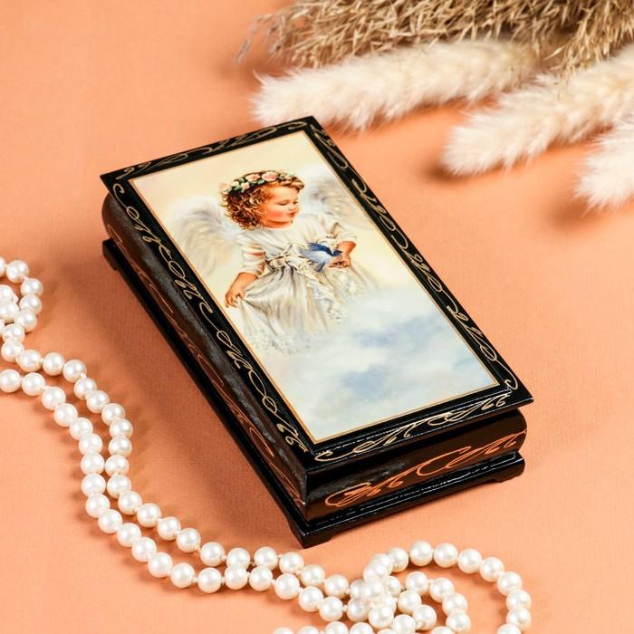 Шкатулка - купюрница «Ангелок на облаке», 8,5×17 см, лаковая миниатюра