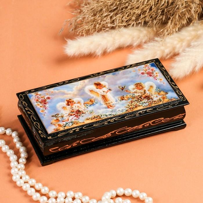 Шкатулка - купюрница «Ангелочки в облаках», 8,5×17 см, лаковая миниатюра