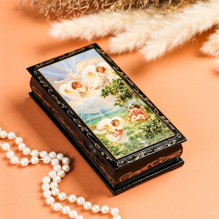 Шкатулка - купюрница «Игривые ангелочки», 8,5×17 см, лаковая миниатюра