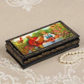 Шкатулка - купюрница «Деревенские песни», 8,5×17 см, лаковая миниатюра