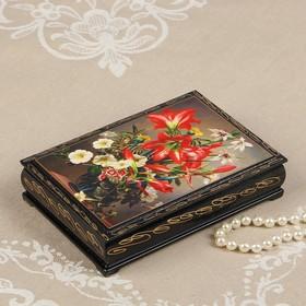 Шкатулка «Лилии в вазе», 11×16 см, лаковая миниатюра