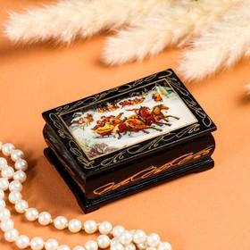 Шкатулка «Деревенские гуляния», 6×9 см, лаковая миниатюра