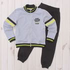 Костюм спортивный для мальчика (куртка, брюки), рост 140 см, цвет серый меланж CAJ 9657