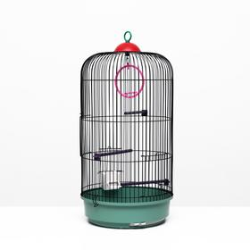 Bird cage round, three-tiered welded, small tray, 33 x 77 cm, mix colors