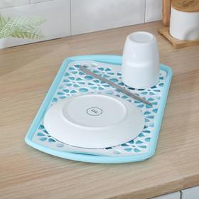 Поднос с вкладышем для сушки посуды, 40×24 см, цвет МИКС
