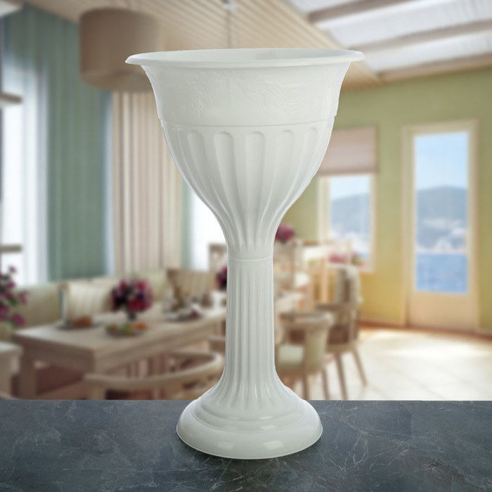 Вазон «Лозанна», 20 л, цвет белый