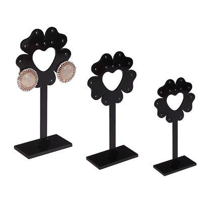"""Подставка под серьги """"Цветок"""", набор 3 шт, h10, 11, 12, цвет чёрный"""