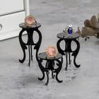 """Подставка под кольца """"Столик"""", набор 3 шт, h5,5, 6,5, 7, цвет чёрный"""