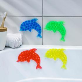 Мини-коврик для ванны «Дельфин», 11×16 см, цвет МИКС Ош