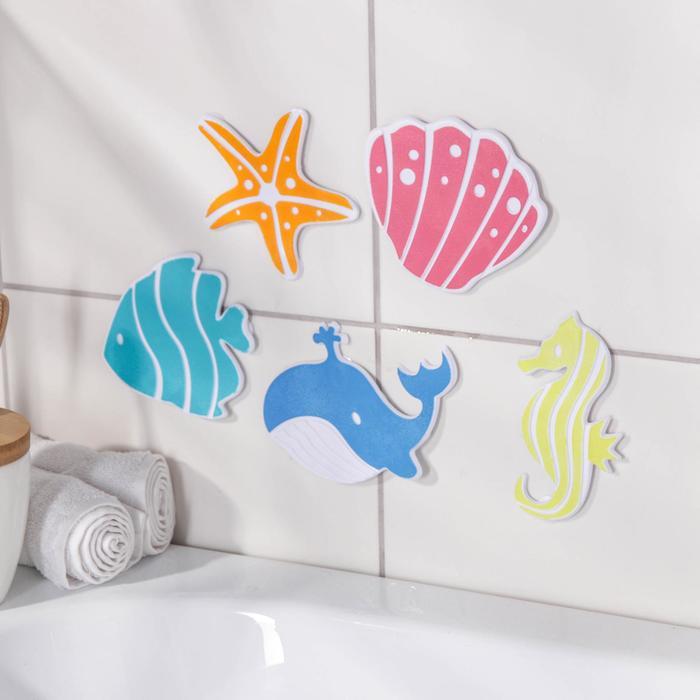 """Набор мини-ковриков для ванны """"Океан"""", 5 шт, цвет МИКС"""