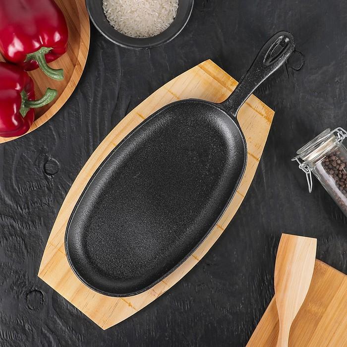 """Сковорода 38,5х18 см """"Овал"""" с ручкой, на деревянной подставке"""