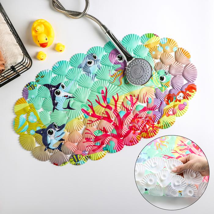 Коврик для ванны Доляна «На дне океана», 33×67 см - фото 105492470