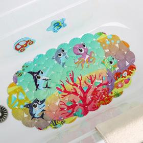Коврик для ванны «На дне океана», 33×67 см - фото 4653376