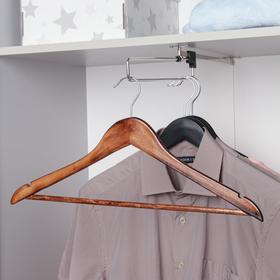 Вешалка-плечики для одежды с перекладиной, размер 46-48, цвет орех