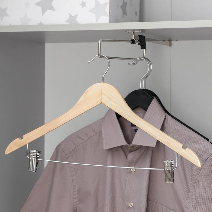 The hanger with clips, size 46-48, color light wood
