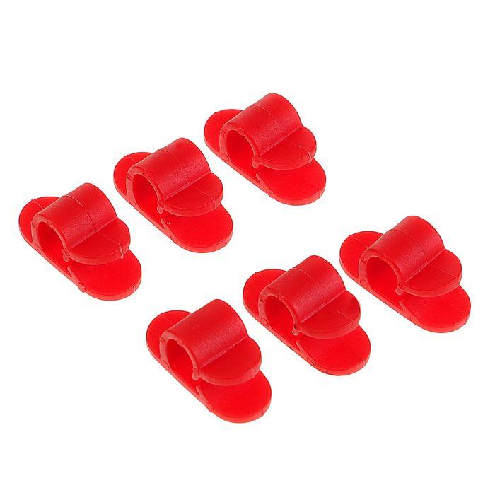 Набор кабельных зажимов, 6 шт, цвет красный