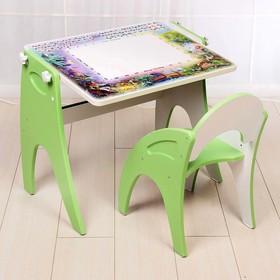 Набор мебели «День-ночь»: парта, мольберт, стульчик. Цвет салатовый
