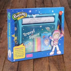 """Доска для рисования """"Космическое путешествие"""", рулон 3 м., маркеры 6 шт., восковые карандаши 8 шт."""