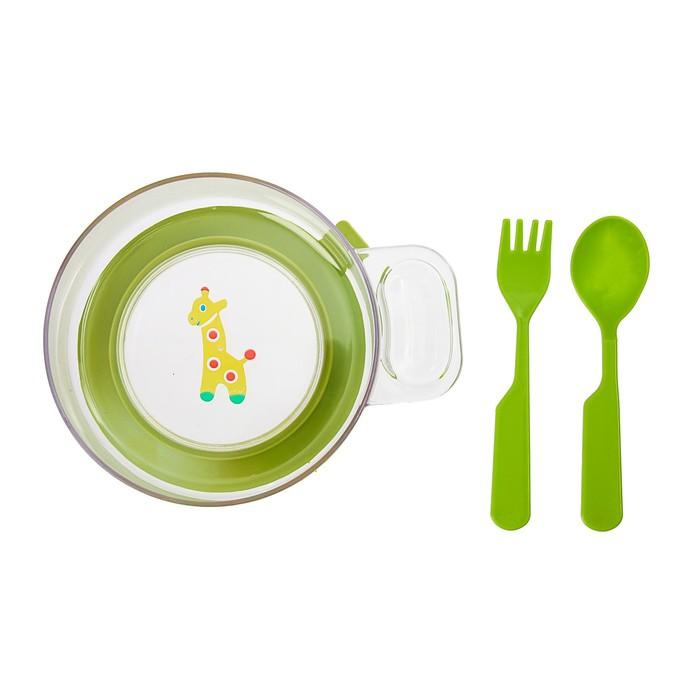 Набор детской посуды, 3 предмета: миска с ручкой на присоске 400 мл, ложка, вилка, цвет салатовый