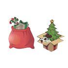 """Новогодний набор подвесок """"Мешок с подарками и ёлочка с собакой"""""""