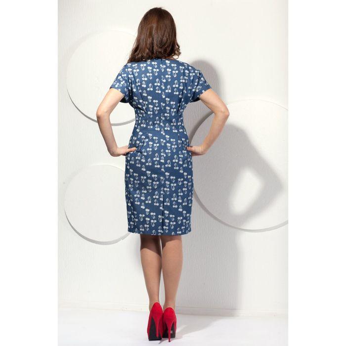 Платье женское, размер 56, цвет синий+серый П-461