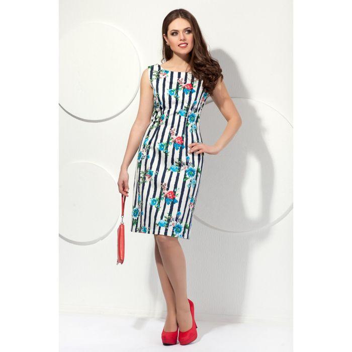 Платье женское, размер 44, цвет белый+тёмно-синий П-213/5