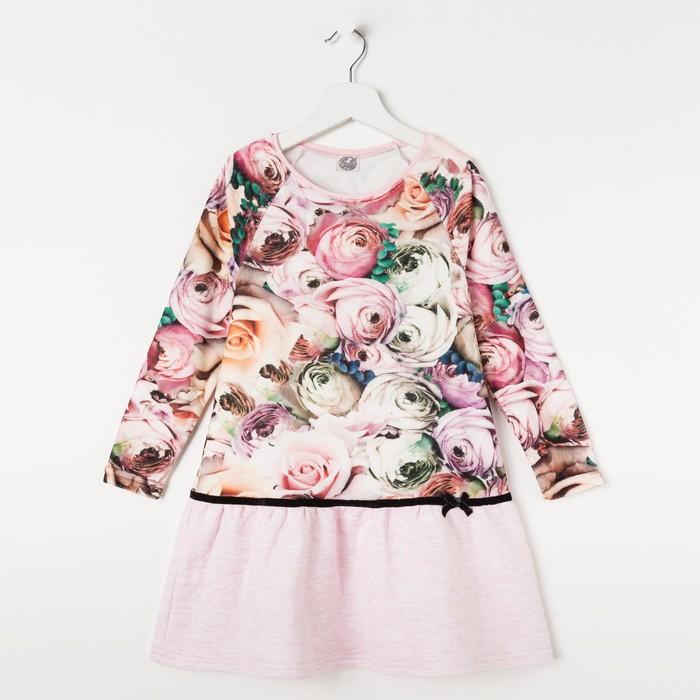 """Платье для девочки """"Романс"""", рост 122 см (62), цвет розовый, принт розы  ДПД588630н"""